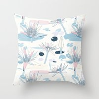 Waterlilies In Pastels Throw Pillow
