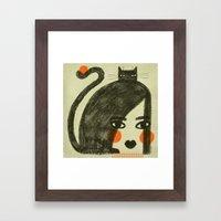 ORANGE CHEEKS Framed Art Print
