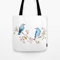 Mountain Bluebirds On Sa… Tote Bag