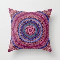 Colorful Agate Mandala Throw Pillow