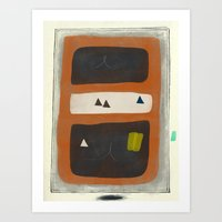 Brown and Orange Forms in Frame Art Print