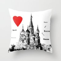 I love Moscow  Throw Pillow