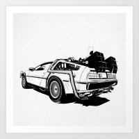 DeLorean / BW Art Print