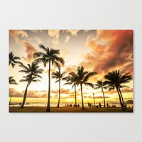 Typical Picturesque Waikiki Beach Sunset Canvas Print
