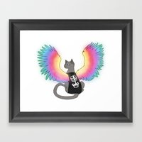 Magical Rainbow Cat Framed Art Print