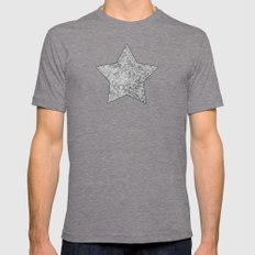 Grey And White Doodles Mens Fitted Tee Tri-Grey SMALL