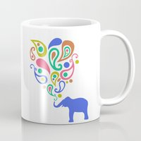 Multi-Colored Paisley Elephant Pattern Design Mug