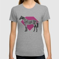 Horse Diamond Womens Fitted Tee Athletic Grey SMALL