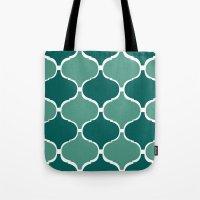 Marrakech Pattern Dark Green Tote Bag