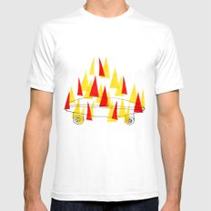 Flaming Skateboard Mens Fitted Tee SMALL White