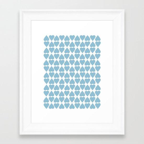 Diamond Hearts Repeat Blue Framed Art Print
