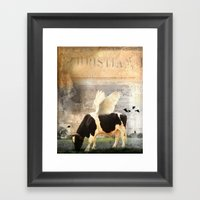Cow With Wings Framed Art Print
