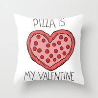 Valentine Pizza Throw Pillow