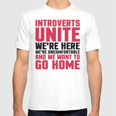 Introverts Unite Funny Quote SMALL White Mens Fitted Tee