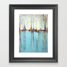 """Abstract White and Blue Painting – Textured Art – """"Sailing""""  Framed Art Print"""