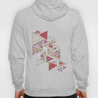 Geometric mosaic triangle pattern - red and pink Hoody