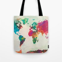 Watercolor World Map Tote Bag