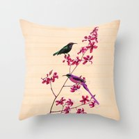 Birds And Orchids Throw Pillow