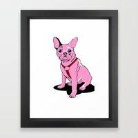 Frenchie_Pink Framed Art Print