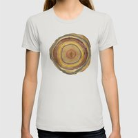 Tree Rings Womens Fitted Tee Silver SMALL
