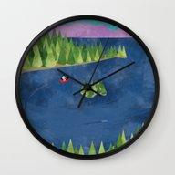 Wall Clock featuring Around The Lake  by Suburban Bird Design…