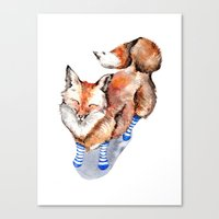 Smiling Red Fox In Blue … Canvas Print