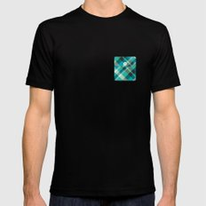 Plaid Pocket - Teal Blue/Green SMALL Mens Fitted Tee Black