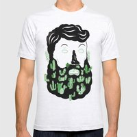 Cactus Beard Dude Mens Fitted Tee Ash Grey SMALL