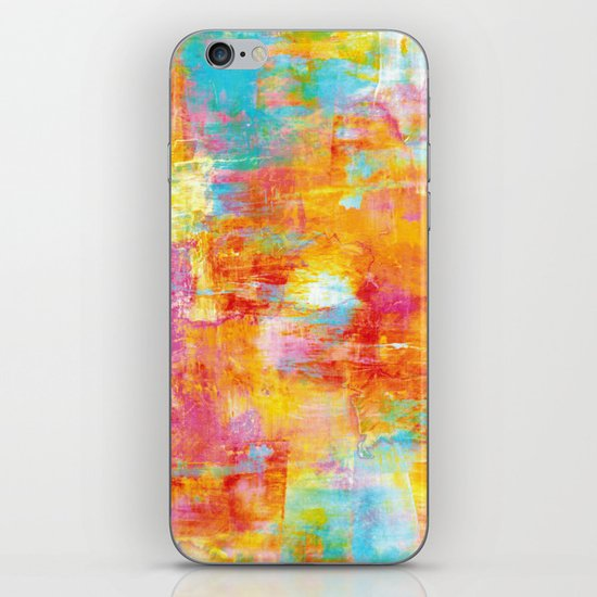 OFF THE GRID Colorful Pastel Neon Abstract Watercolor Acrylic Textural Art Painting Nature Rainbow  iPhone & iPod Skin