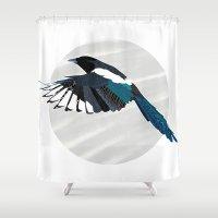 Magpie in Flight Shower Curtain