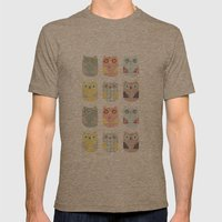 Owls Pattern Mens Fitted Tee Tri-Coffee SMALL