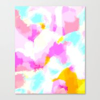 Bailee - Bright neon pink, blue, yellow abstract art Canvas Print