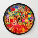 PAINTING THE SOUL - Vibrant Collage Mixed Abstract Acrylic Watercolor Painting Rainbow Colorful Art Wall Clock