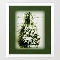 Antique Green Kwan Yin Art Print