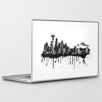 seattle Laptop & iPad Skins featuring Seattle. by Dioptri Art