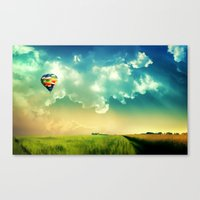 The Colorful Balloon In The Sky - Painting Style Canvas Print