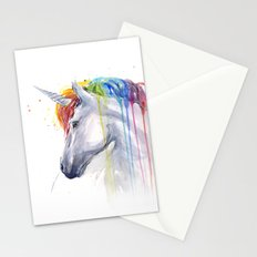 Rainbow Unicorn Watercolor Stationery Cards