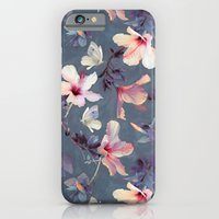 floral iPhone & iPod Cases featuring Butterflies and Hibiscus Flowers - a painted pattern by micklyn