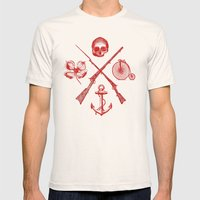 Skull Flower Rifle Bicyc… Mens Fitted Tee Natural SMALL