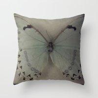 Papillon _ Vintage Flutt… Throw Pillow
