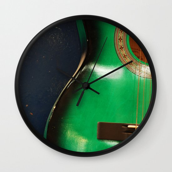 Green guitar Wall Clock