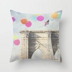 Bright Brooklyn Bridge Balloons Throw Pillow