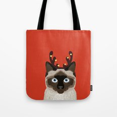 Siamese Cat Reindeer Costume funny cat art for cat lady gift for the holidays cats christmas outfit Tote Bag