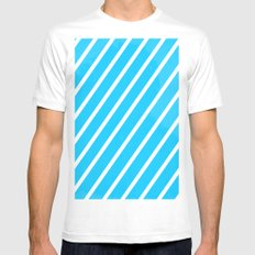 Blue & White Stripes Mens Fitted Tee White SMALL