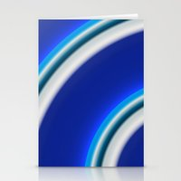 Blue And White Curved Li… Stationery Cards