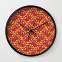 Flowers Red Pattern Wall Clock