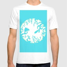 Abstractly Blue  White SMALL Mens Fitted Tee