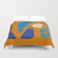 Robot LOVE - Orange Duvet Cover