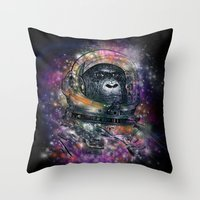 Deep Space Monkey Throw Pillow