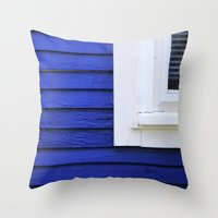 White window frame, blue clapboards Throw Pillow